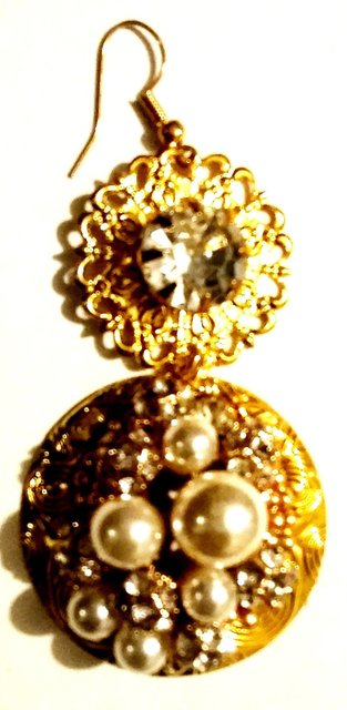 "3"" ROUND GOLD disk earrings with pearls and clear stone embellishments."