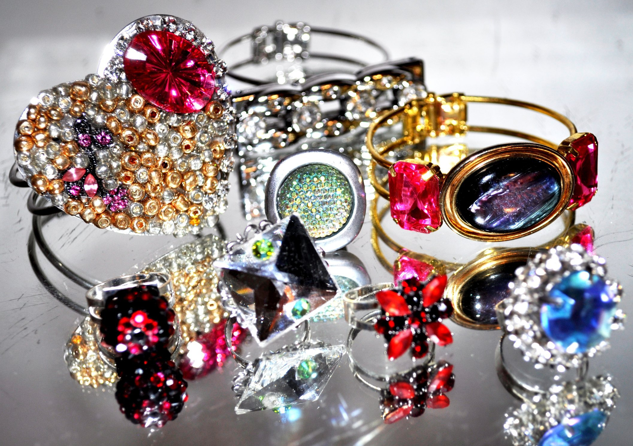 CHANDELIERS RINGS AND BRACELETS