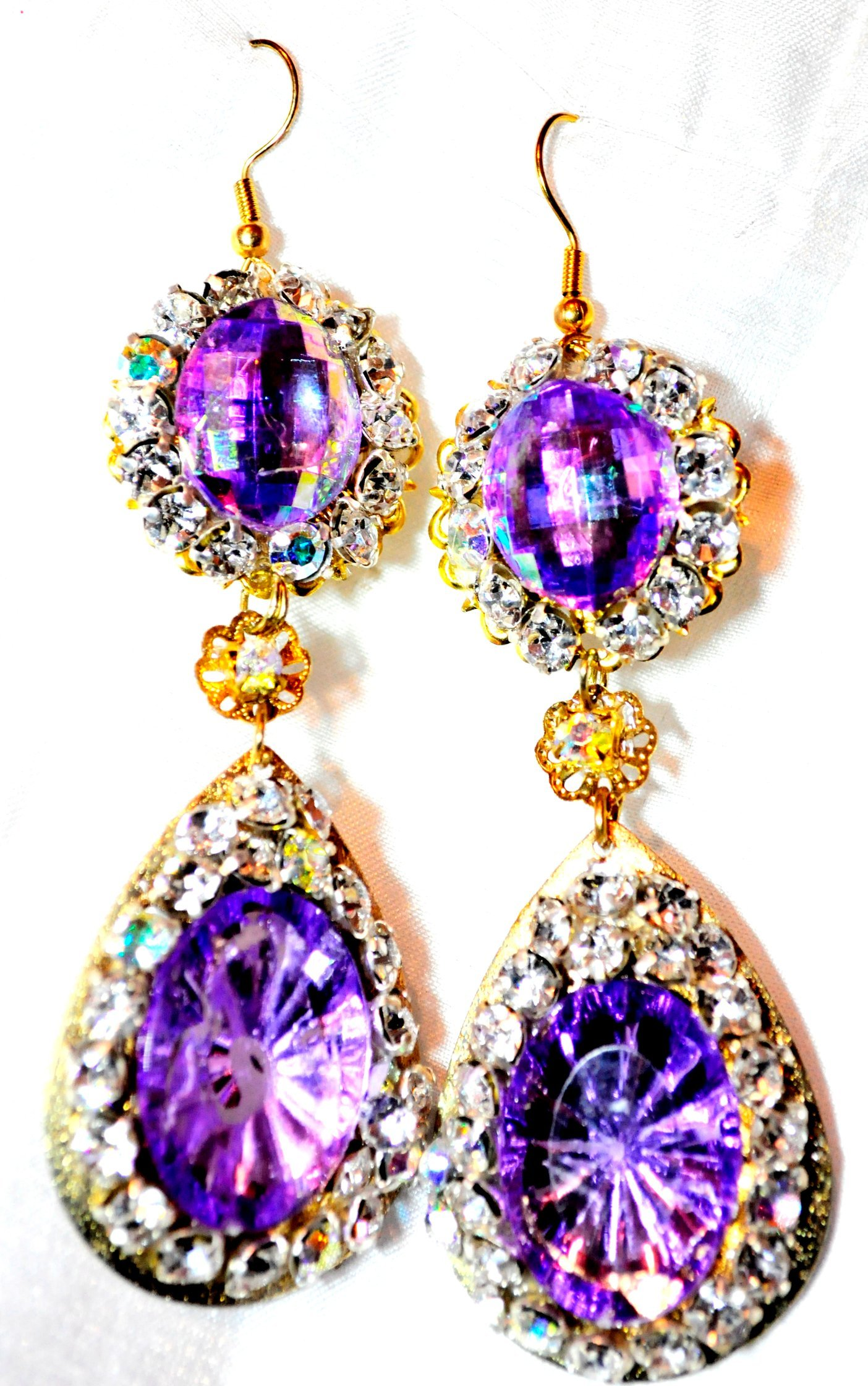GOLD TEARDROP AND LAVENDER, CRYSTAL STONES