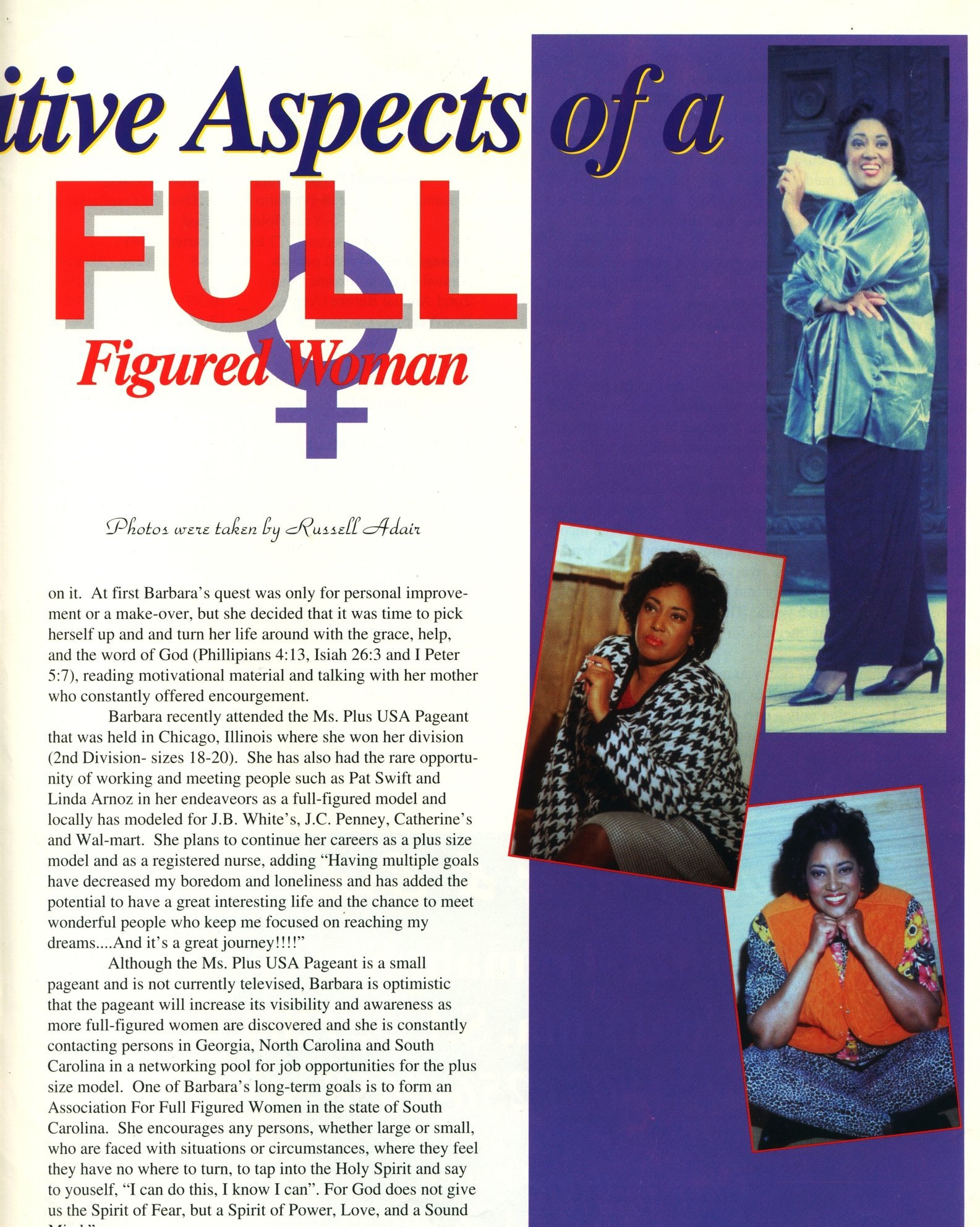BARBARA WILLIAMS appears as a special feature in CELEBRITY magazine.