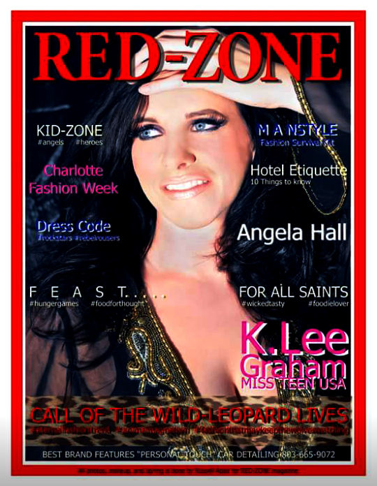 SC native ANGELA HALL stars on the cover of RED-ZONE magazine.