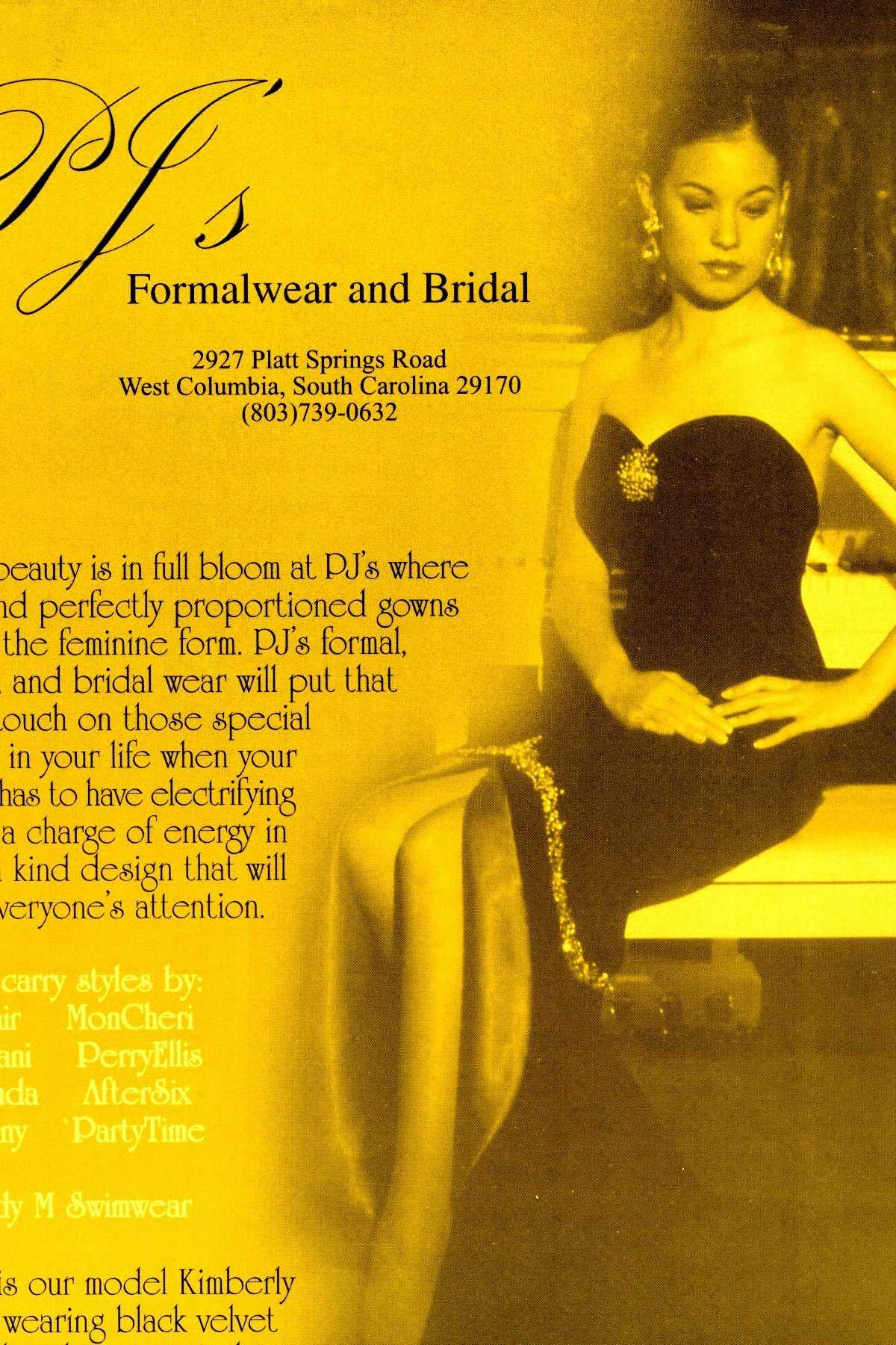 KIMBERLY is featured in an ad campaign for PJ'S formal and bridal.