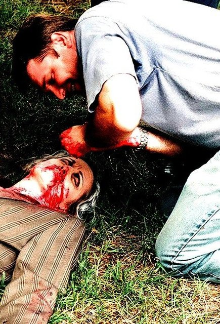 THE HUMANS -  I WAS MAKEUP ARTIST for this  SCI-FY movie, director EVAN KNOTEK applies makeup for a death scene.