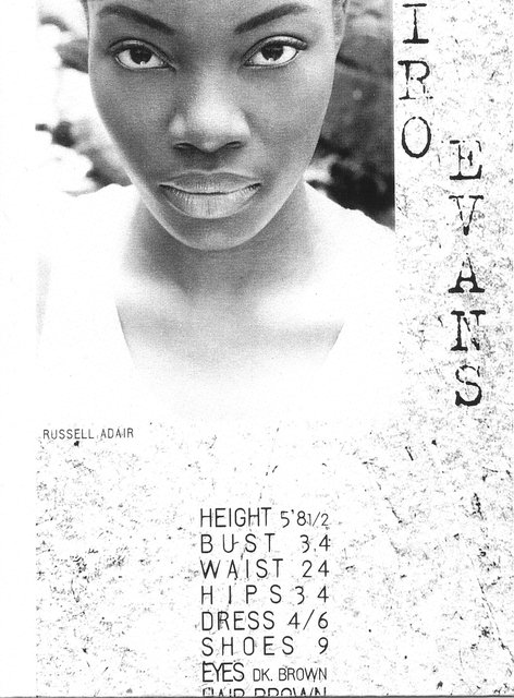 CAIRO EVANS-  NYC MODEL My photo is on the cover and the back of her card.