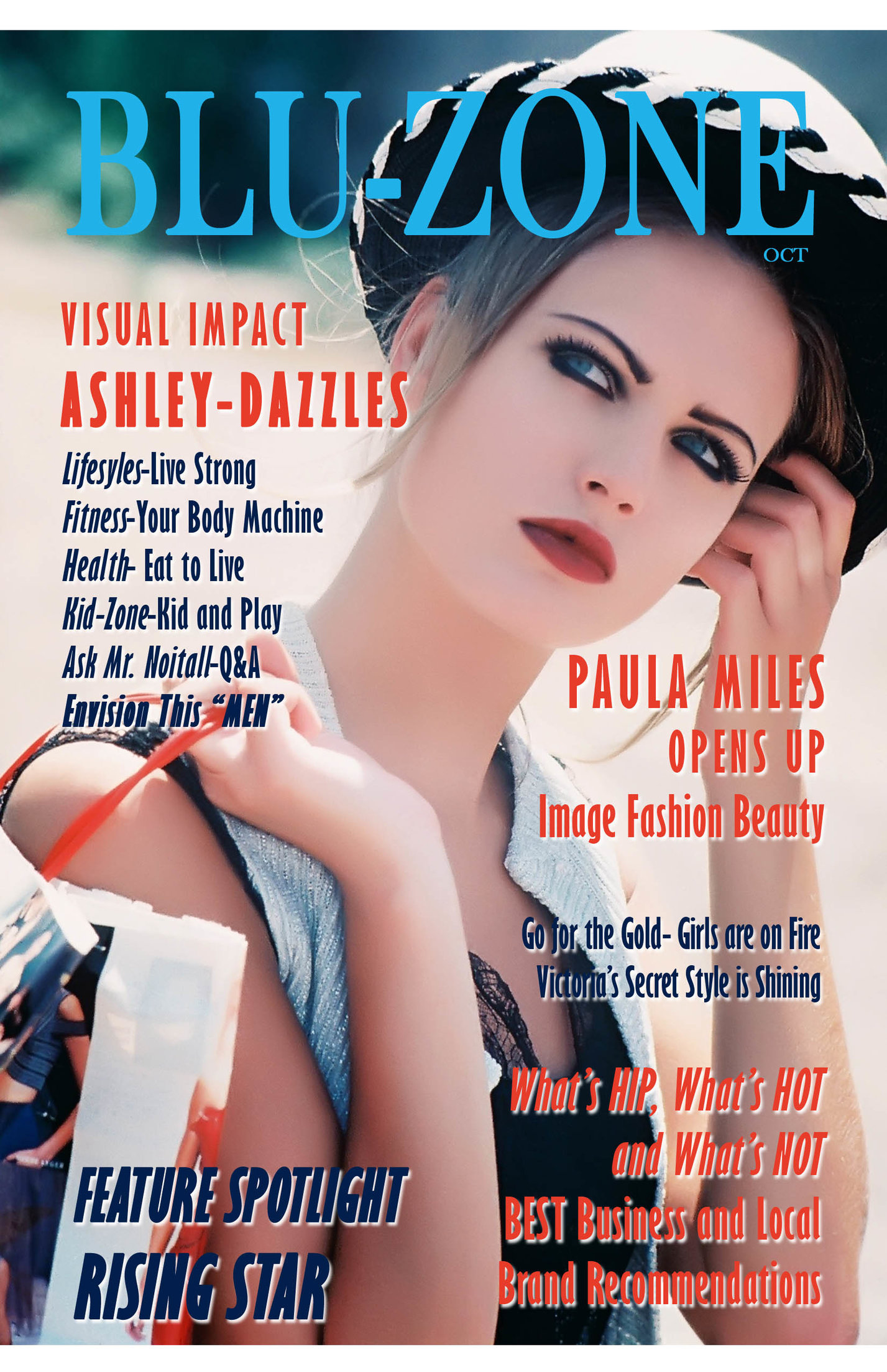 International supermodel ASHLEY appears on the cover of BLU-ZONE mockup.