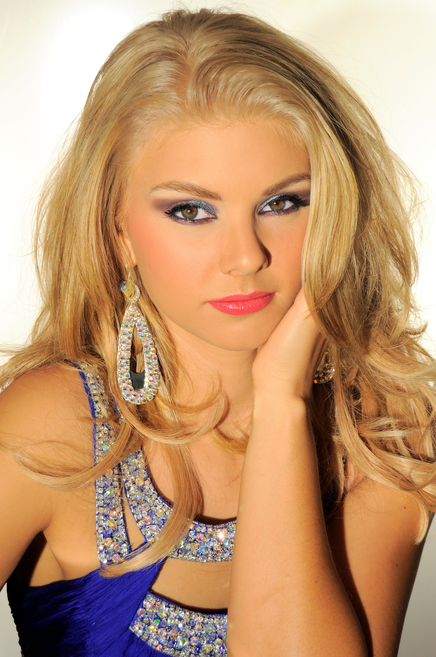 """3""""SILVER TEARDROP HOOPS WITH AB STONES worn by ALI ROGERS, MISS SOUTH CAROLINA"""