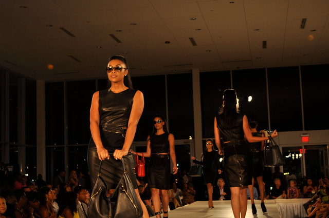PORSCHE DESIGN-   Panther black leather looks sophisticated at Charlotte Fashion Week.