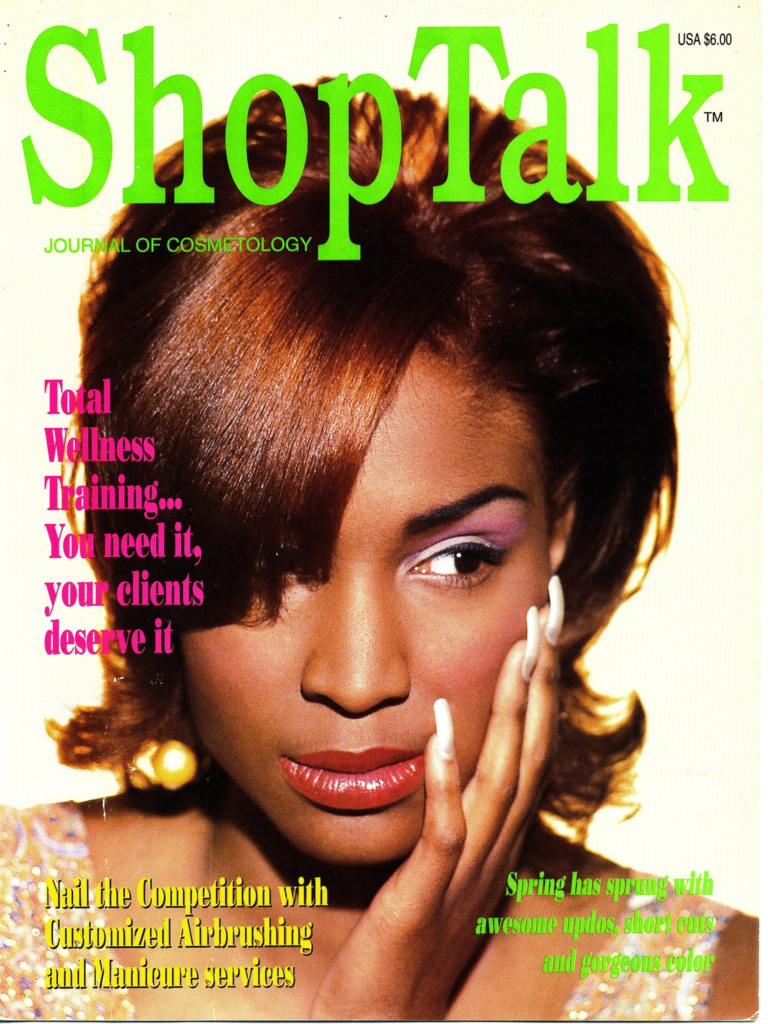 Model on the cover of SHOP TALK, industry publication for hair and makeup.