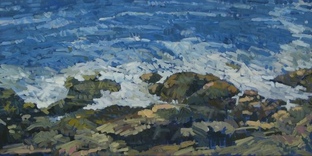 "Prouts Neck Rocks Near East Point, 2013, Acrylic on Canvas, 24"" x 48"""