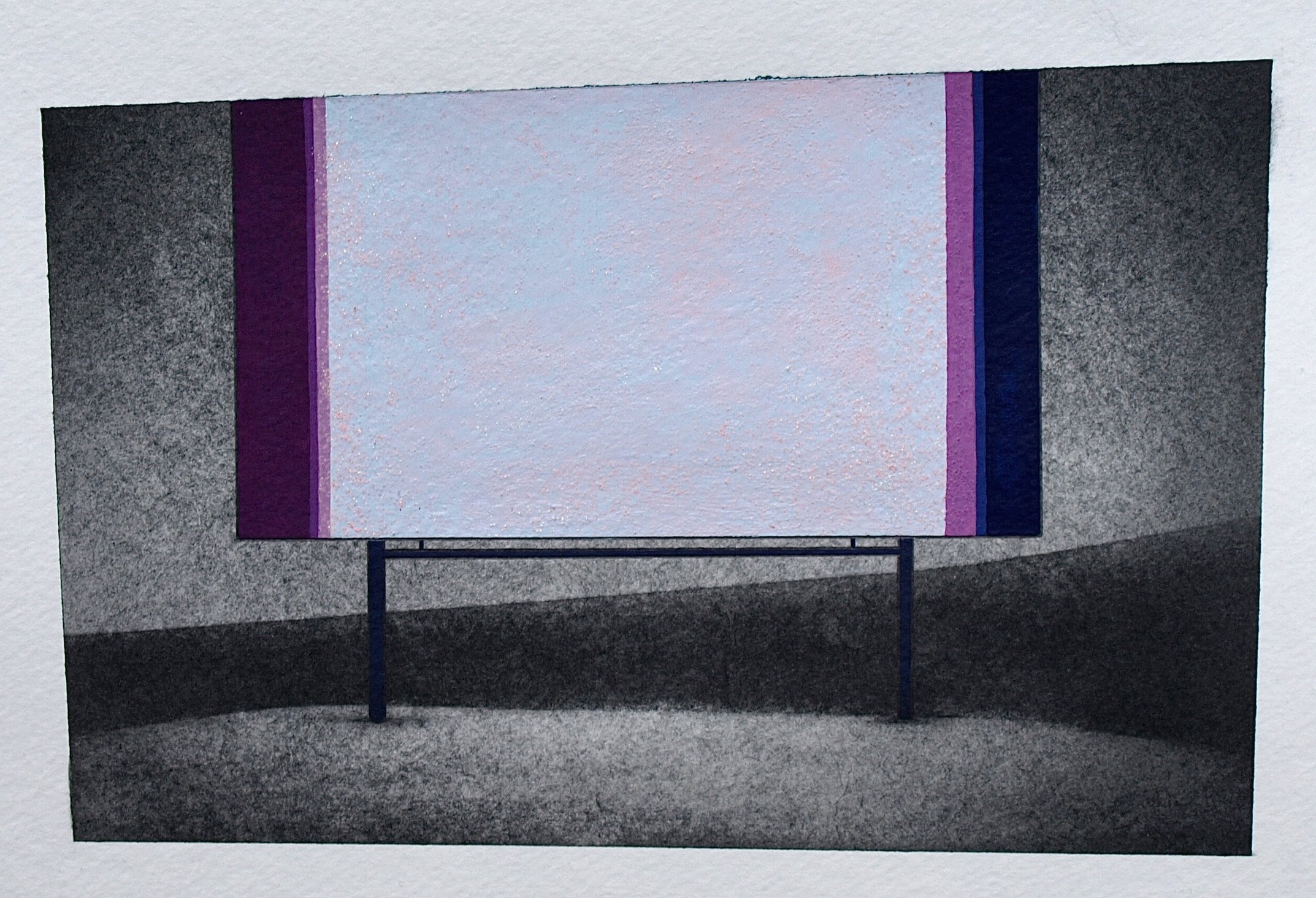 Not Too Distant Future 1, 2014, graphite and gouache on paper, ~6.5 x 9""