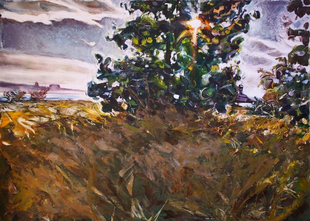 Late Summer Poplar   22 x 30""