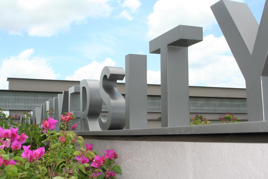 Detail of entrance signage