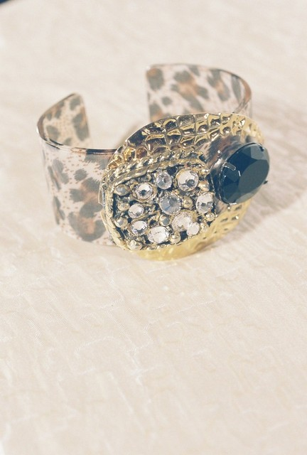 CUFF-animal print, gold, clear, black stones