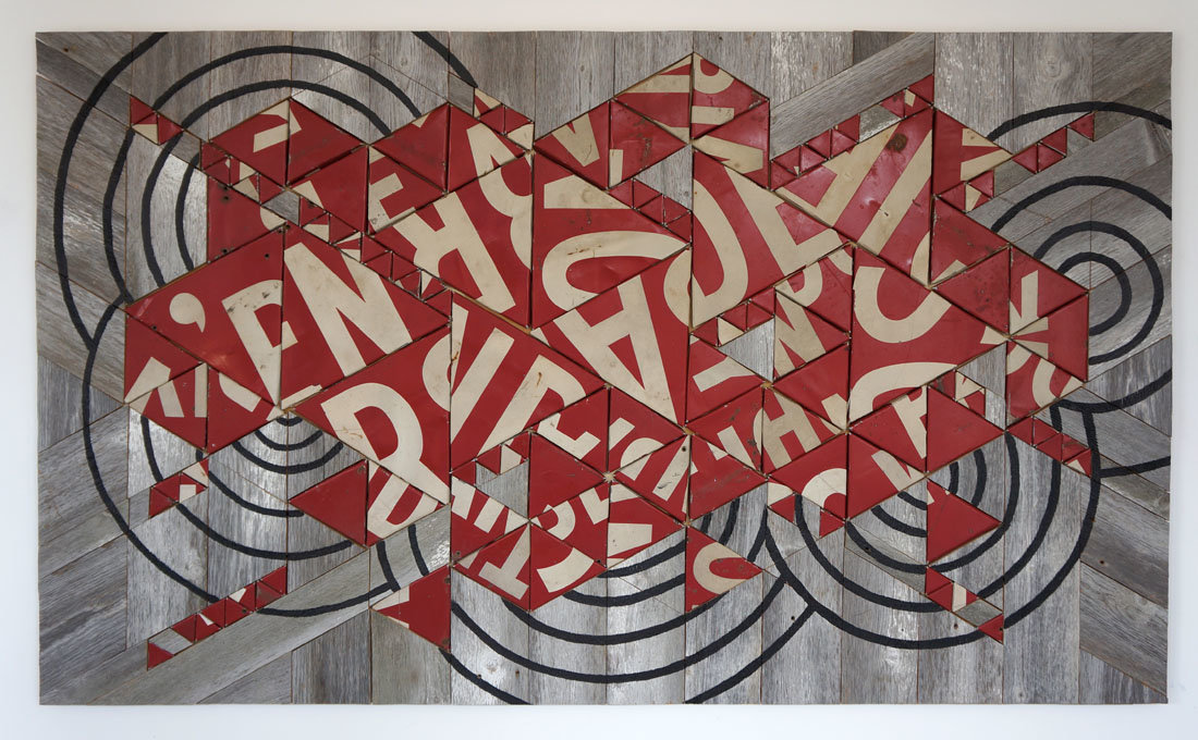 """Babel"" 8ft x 4 ft vintage metal signage & reclaimed barn wood"
