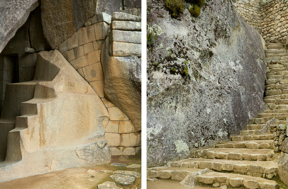 staircase (right) leading to the royal tomb (left) underneath the temple of the sun