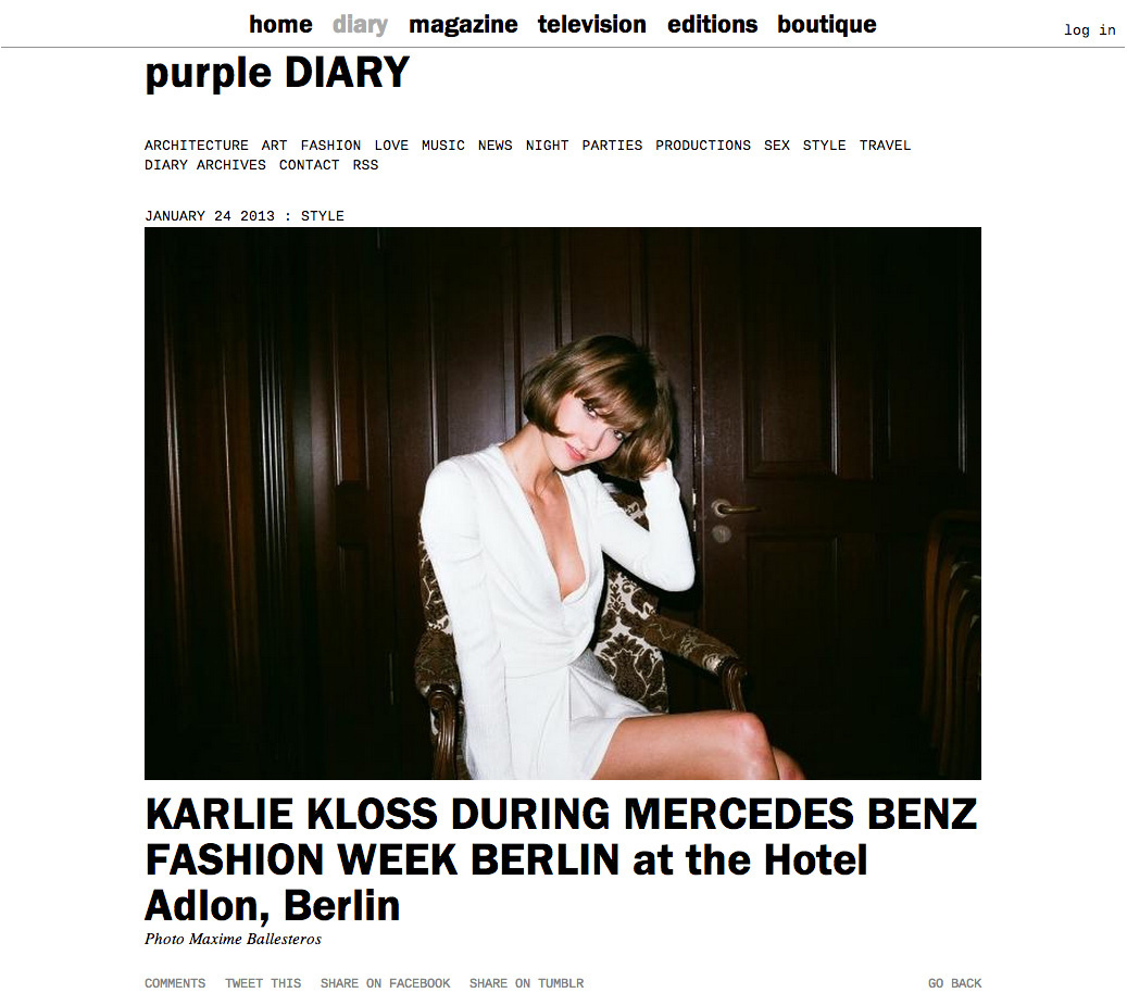 purple DIARY   KARLIE KLOSS DURING MERCEDES BENZ FASHION WEEK BERLIN at the Hotel Adlon  Berlin.jpg