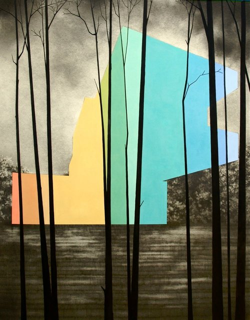 "Cantilever House, 2013, gouache and graphite on paper, 30 x 22"" **"