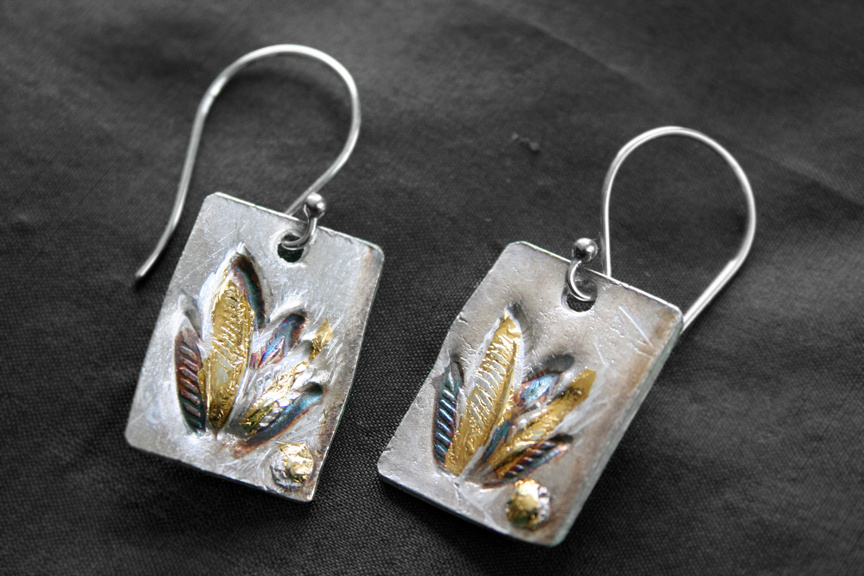 Plantain Leaf Earrings - Pure silver w/ 24k gold and patina -  Dimensions 2 1/2 X 2 cm (SOLD)