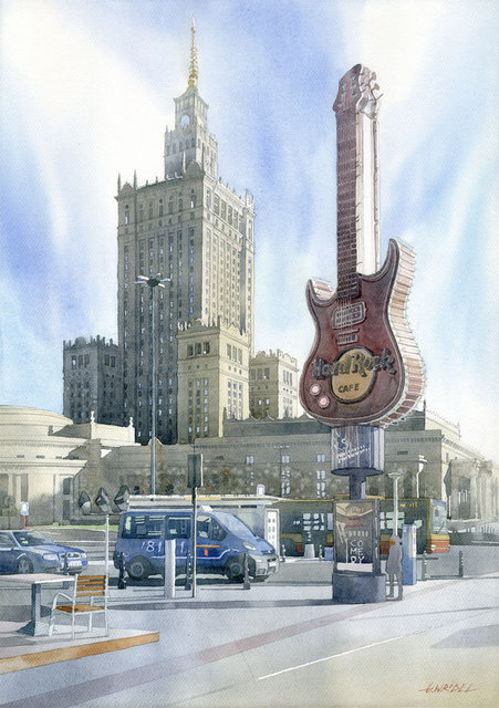 Hard Rock Cafe 50x70 akwarela