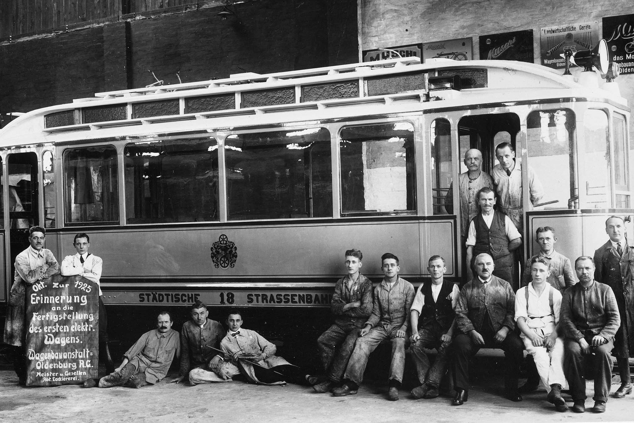 1925 eerste electrische tram in Oldenburg