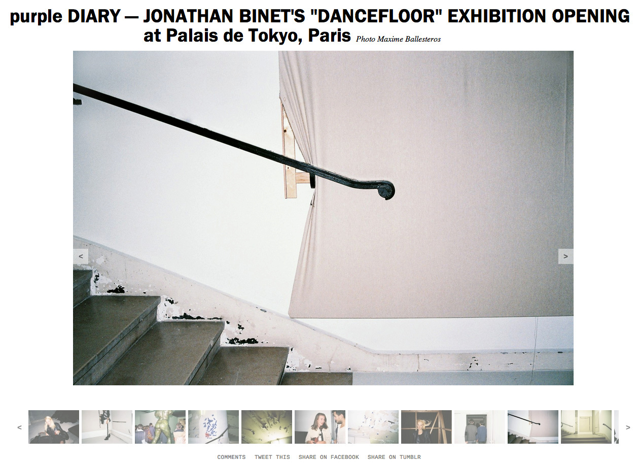 purple DIARY   JONATHAN BINET S  DANCEFLOOR  EXHIBITION OPENING at Palais de Tokyo  Paris.jpg