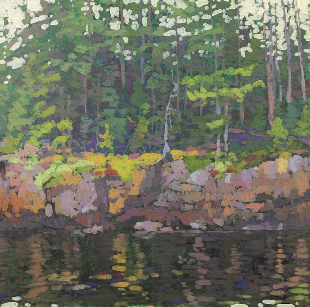 "Rocky Shore Still Water, Northeast Harbor, 2012, Acrylic on Canvas, 24"" x 24"""