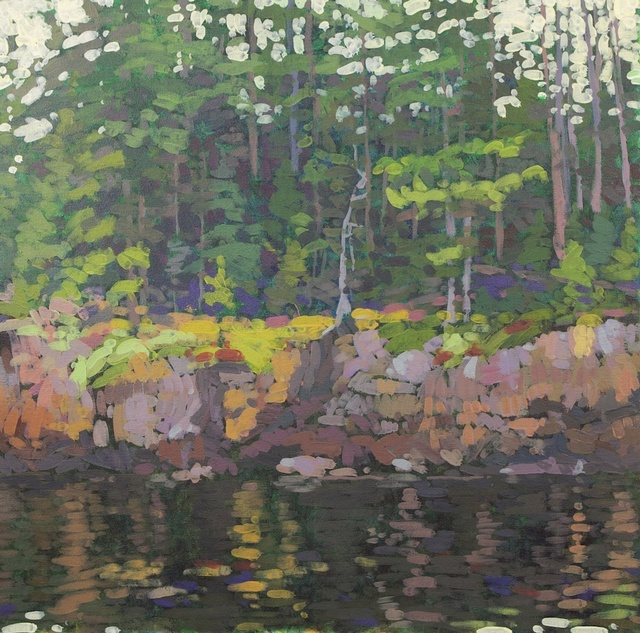 Rocky Shore Still Water, Northeast Harbor, 2012, Acrylic on Canvas, 24 x 24 in. (NLA)
