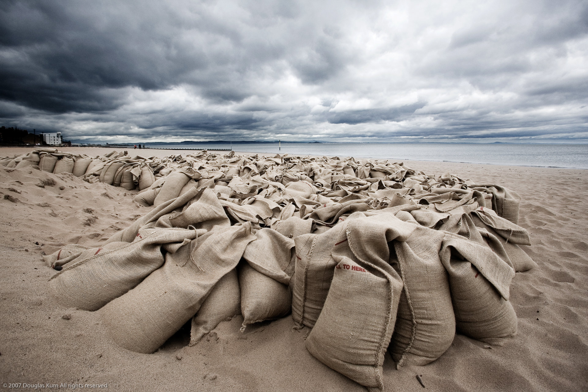 Sandbags on Portobello Beach
