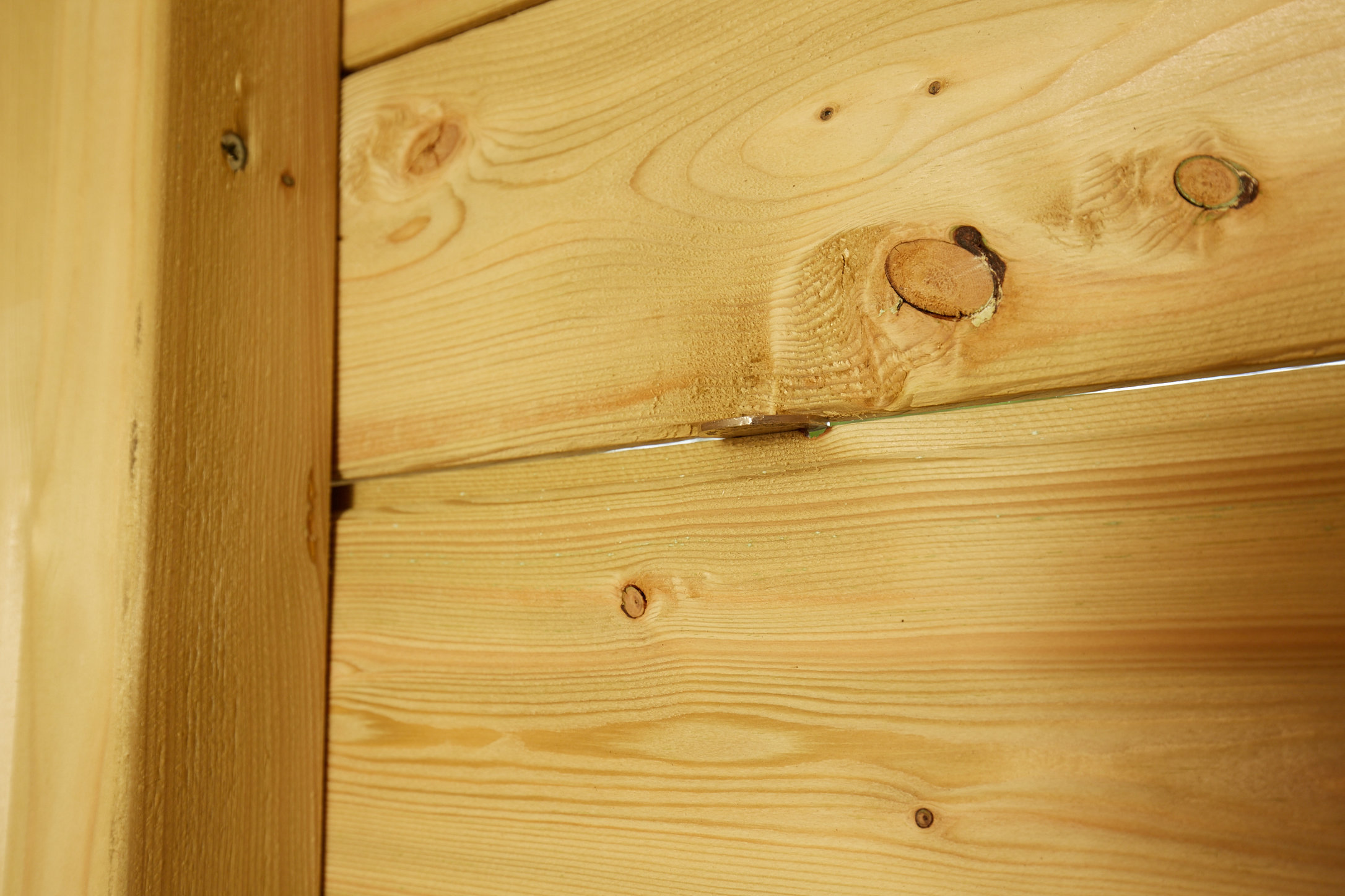 Photo showing gap in tongue and groove of back panel of shed with 50 pence coin inserted to show size of gap