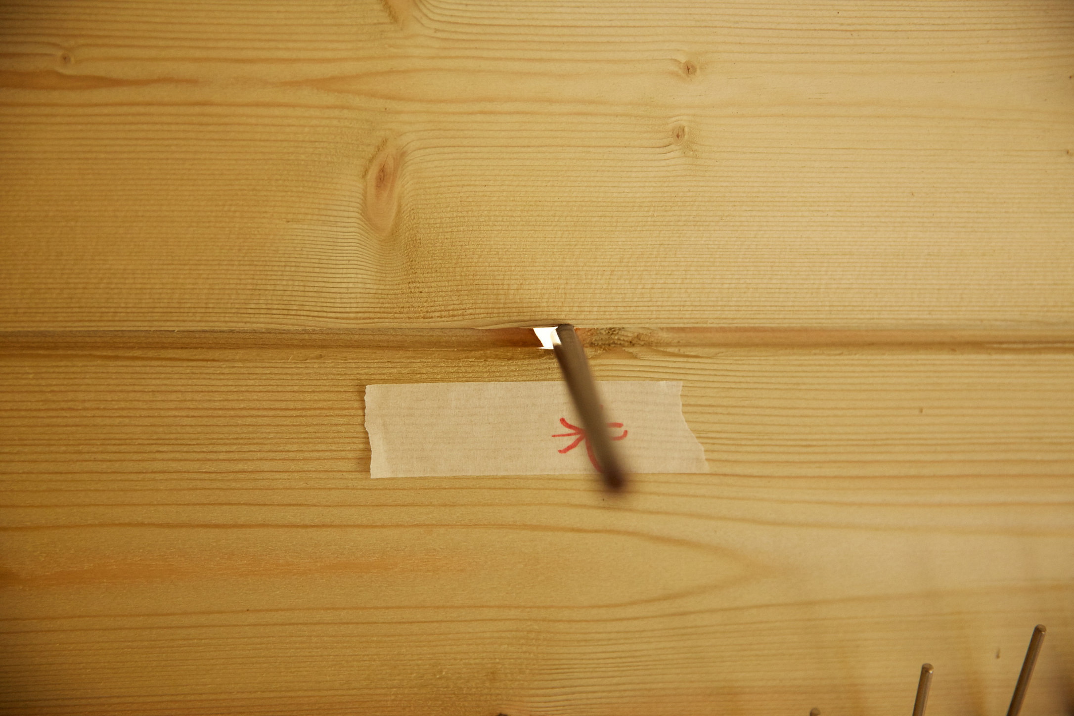 The largest of several holes in walls of shed with pencil inserted to show size.