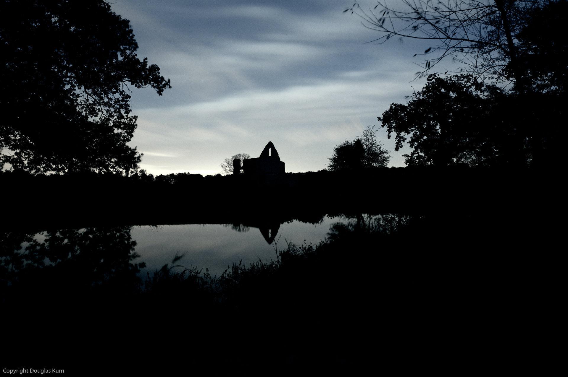 Newark Priory in Silhouette, Ripley, Surrey