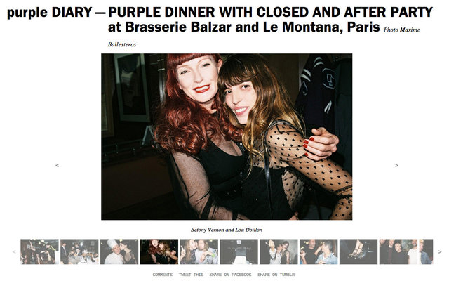 purple DIARY   PURPLE DINNER WITH CLOSED AND AFTER PARTY at Brasserie Balzar and Le Montana  Paris.j