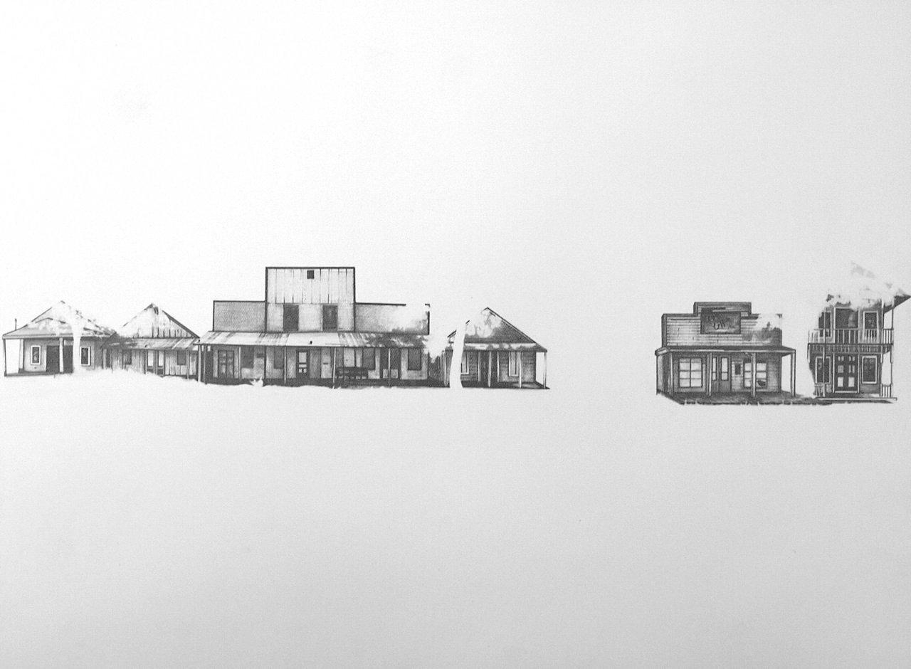 """Winkelman, TX, 2010, graphite on paper , 12 x 16"""""""