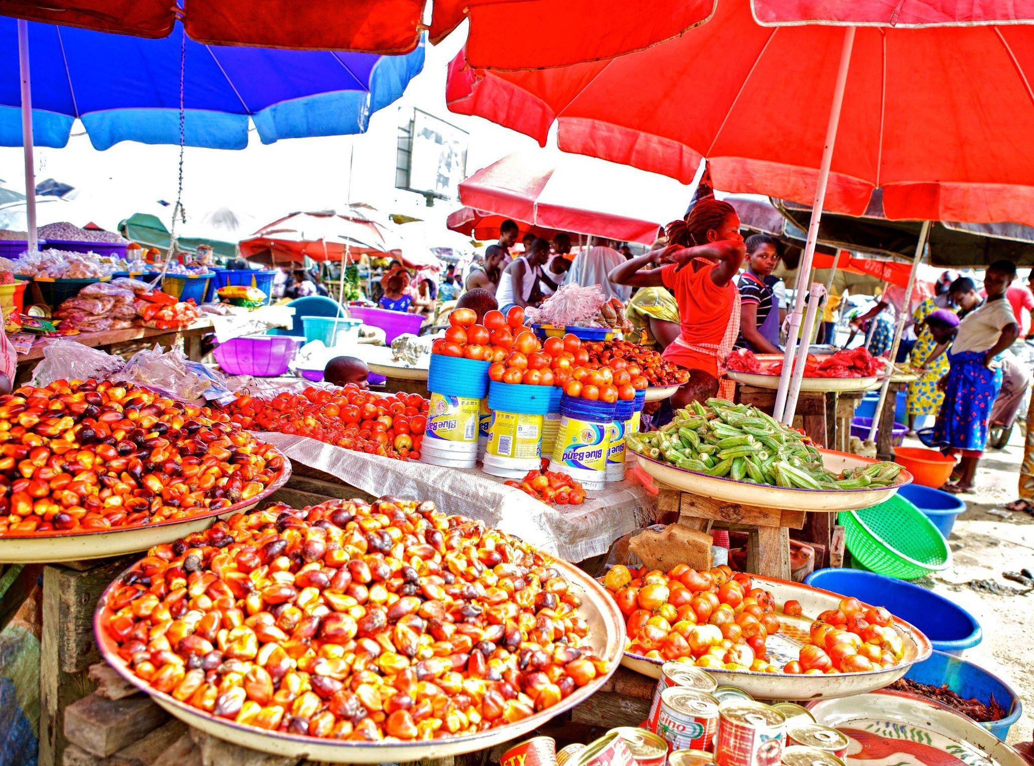 Bright colors at the Market - Niger Delta, Nigeria