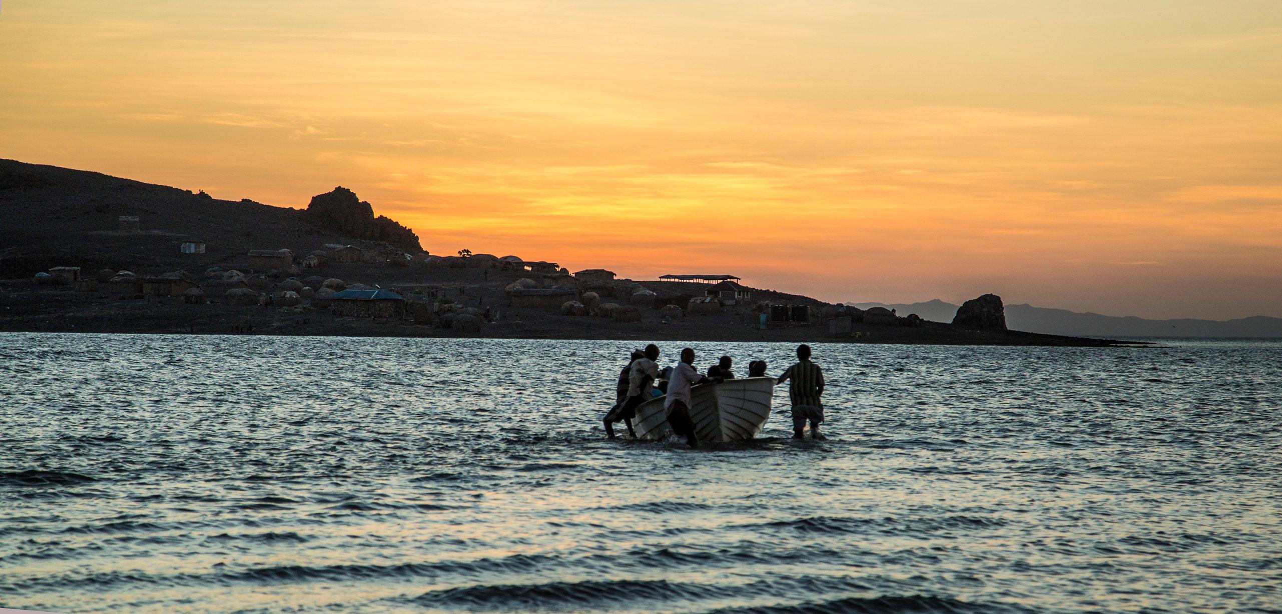 Heading home before dark - El Molo Island on Lake Turkana