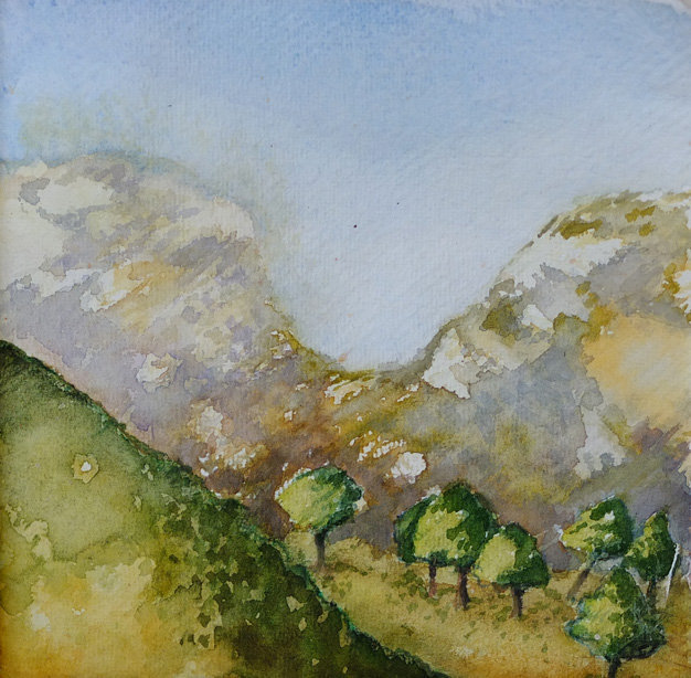 Watercolours study Troodos Mountains by Alison Gracie