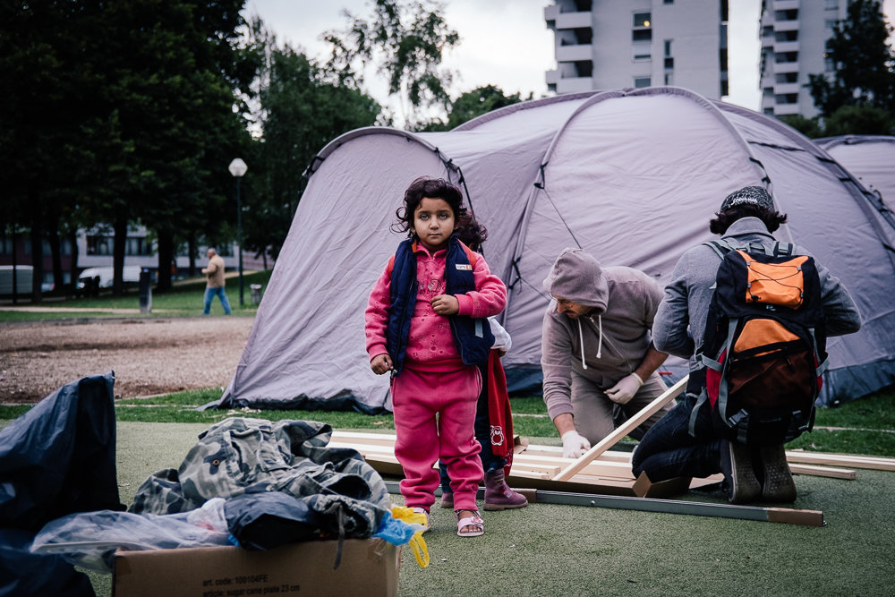 Refugee camp Maximiliaanpark Brussels.