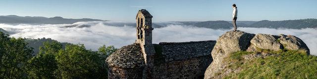 France, Auvergne-Rhône-Alpes, Haute-Loire (43), Saint-Privat-d'Allier, gorges de l'Allier, chapelle Saint-Jacques de Rochegude
