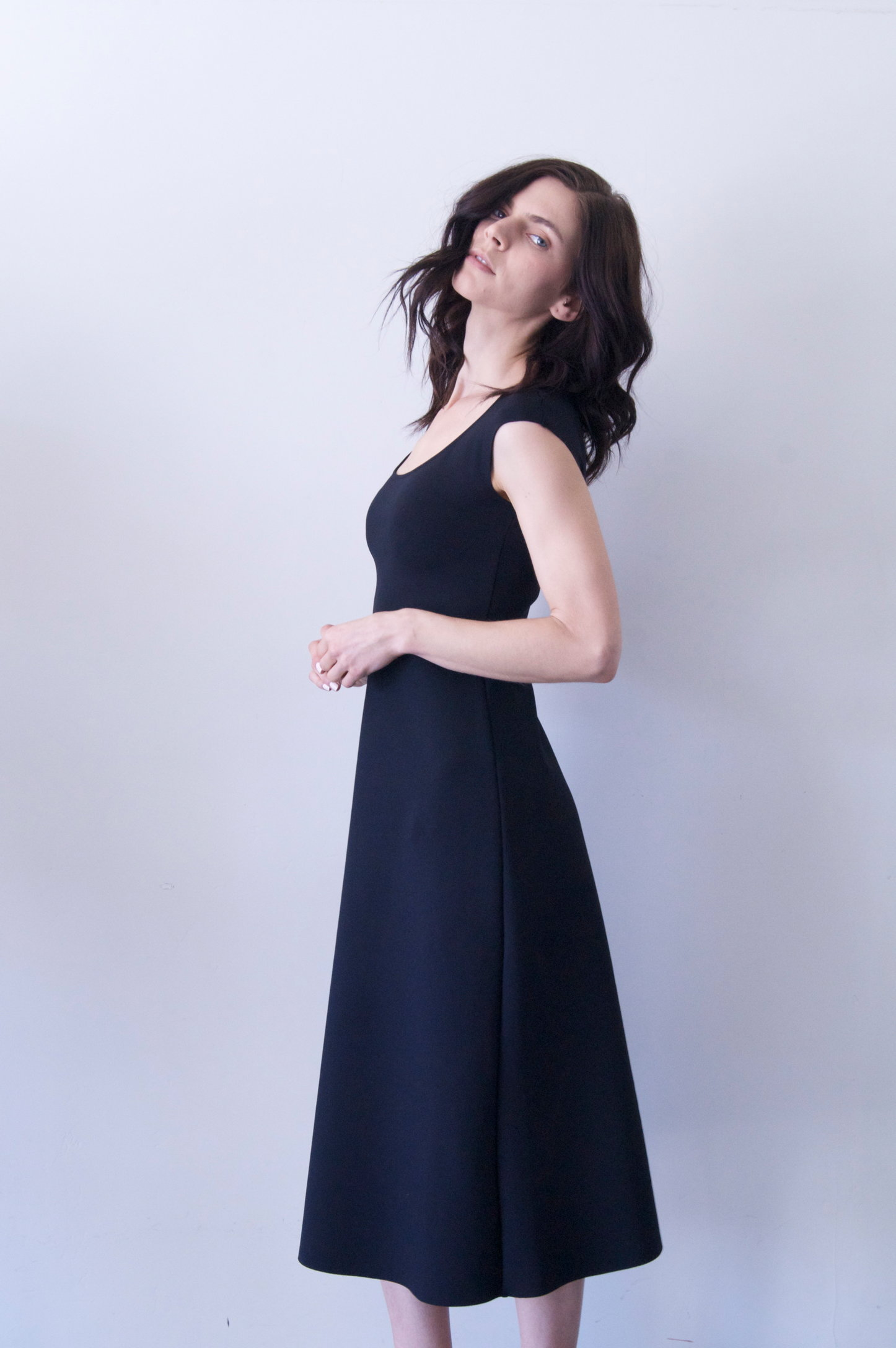 rhode dress in black neoprene   590.00