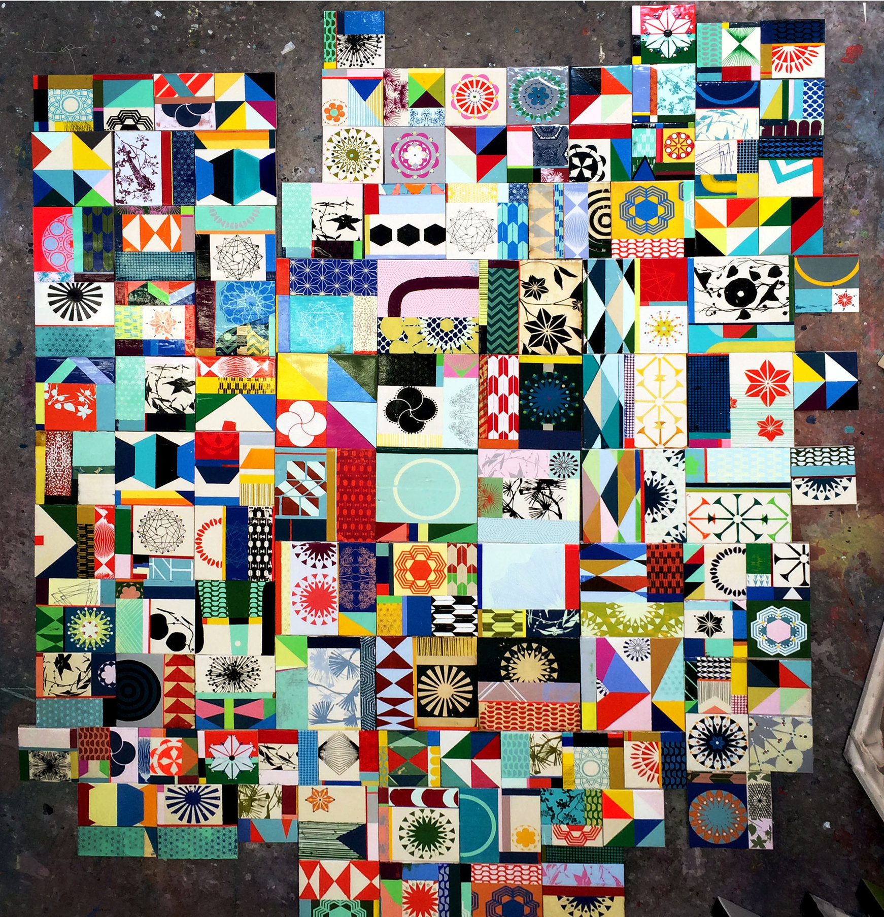"8""x8"" blocks that explore color, pattern, geometries and nature references - this is a small group from 200 pieces total"