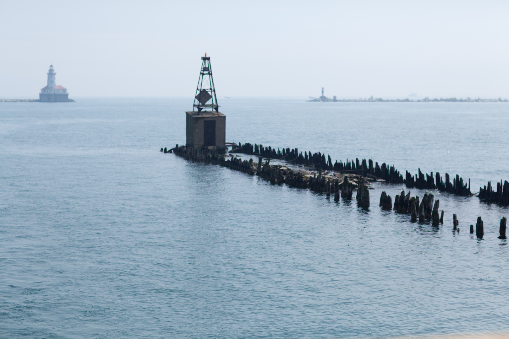 Breakwater alongside Navy Pier forming Chicago Harbor