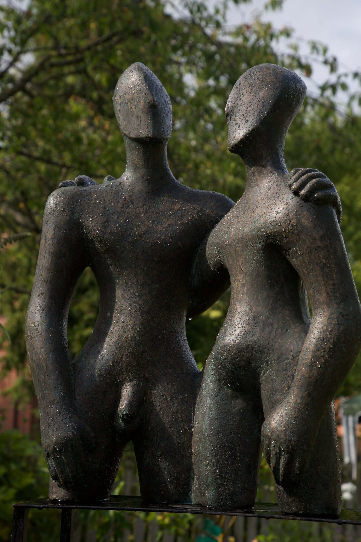 Etruscan Couple 2   2006  50 x 68 x 28cm  Bronze Resin    Rp £3200   Richmond Care Home near Wantage Exhibition 2015