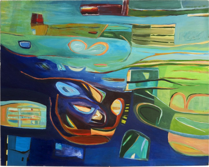 "Neptune's World, 2001, Acrylic on Canvas, 48""x60"""