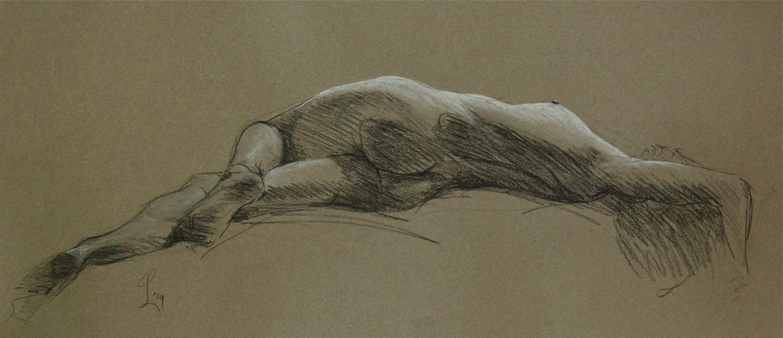 Liggend naakt in tegenlicht (schets), 2014