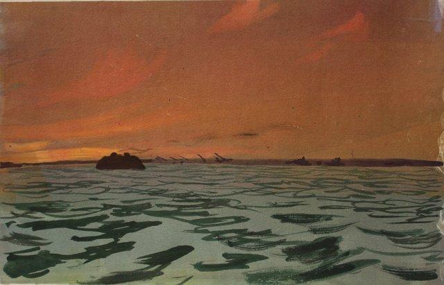 "Sunset Ferry   10 x 13"""