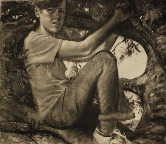"Painter in Tree      22 x 29"""