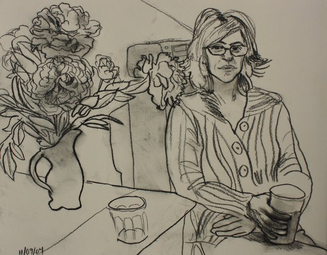 Emily with Peonies    16 x 20""