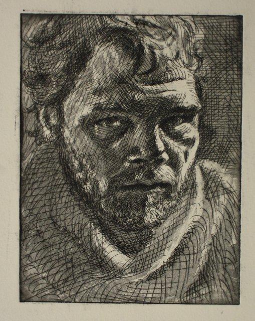 "Etching Self-Portrait    9 x 11"""