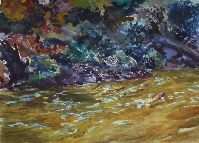 """River Otters, 22 x 30"""""""