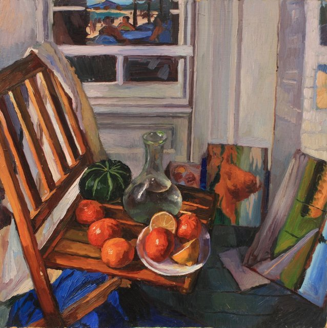 """Gourd and Oranges    32 x 32"""""""